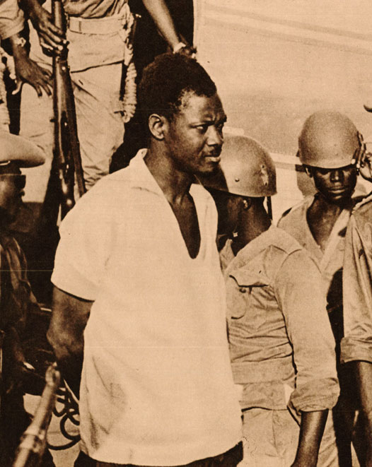 Deposed Congolese Prime Minister Patrice Lumumba under arrest.