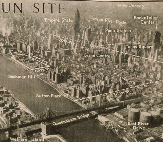 A proposed site for the permanent UN building. Where the fighting could go unabated.