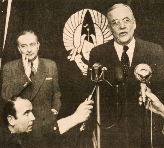 John Foster Dulles (with French Premier Bidault) -  An alarmists Dream Date.