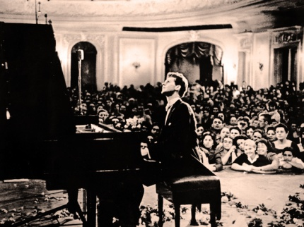 Van Cliburn performing at the Moscow Conservatory, 1958.