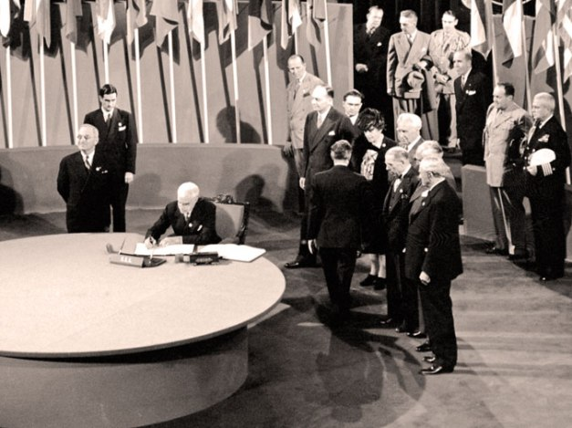 Days after the death of FDR - days before VE Day, getting the UN started.