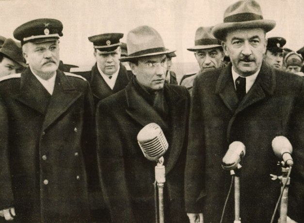 Deposed Hungarian President Ferenc Nagy (at Microphone) - subtle, not unlike a sledgehammer.