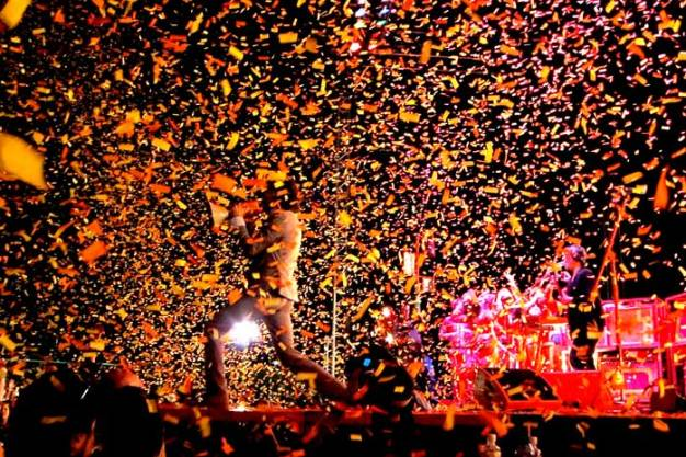 Somewhere in the blizzard of confetti is a band.